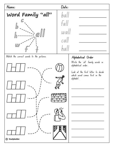 At Word Family Worksheets Free by Word Family Quot All Quot Skills Interactive