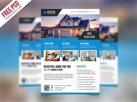 free psd clean real estate flyer psd template by psd