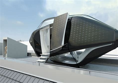 future home designs and concepts futuristic rooftop living room in a compact prefab capsule