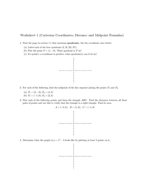 Distance On The Coordinate Plane Worksheet