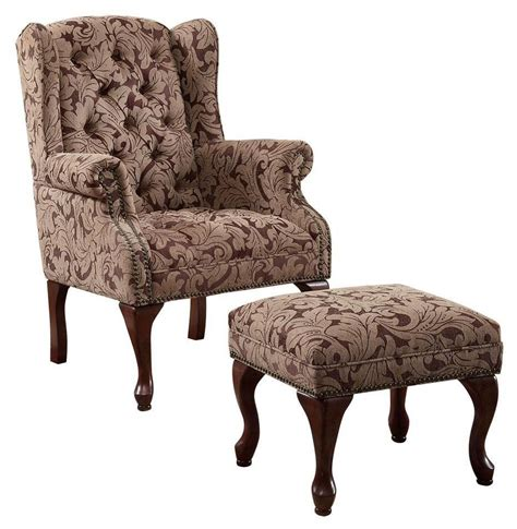 button tufted ottoman button tufted wing chair with ottoman 3932b from coaster