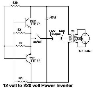wiring diagram for car simple inverter with two transistors