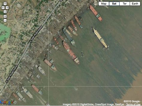 Largest Cruise Ship Satellite Images Of The Knock Nevis At Alang India Scrapyard