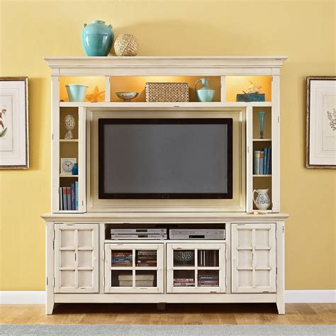 Compact White Painted Oak Wood Media Cabinet With Lighted
