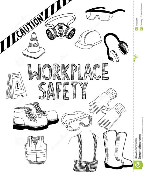 Drawing Of Safety workplace safety gear stock vector illustration of