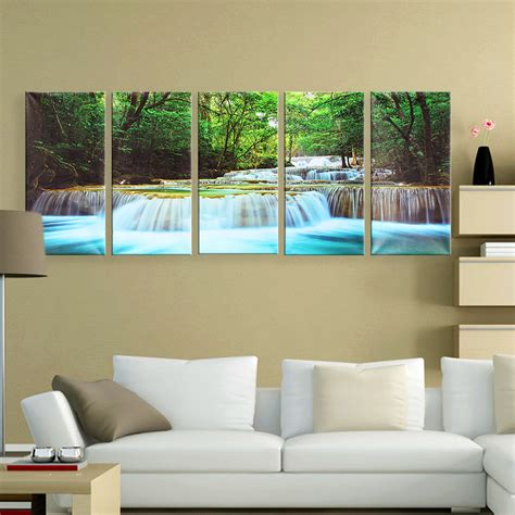 waterfalls for home decor 30x60cm 5pcs canvas painting forest waterfall wall art
