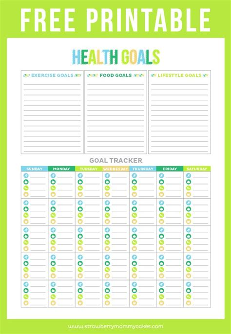 printable exercise planner free free printable health goal tracker around the worlds