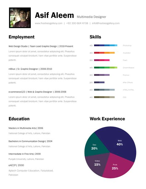 template cv pages free one page resume template freebies gallery