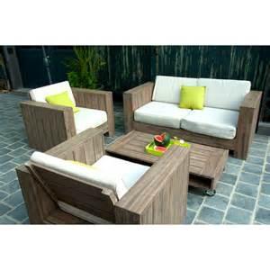 salon de jardin bois solde qaland