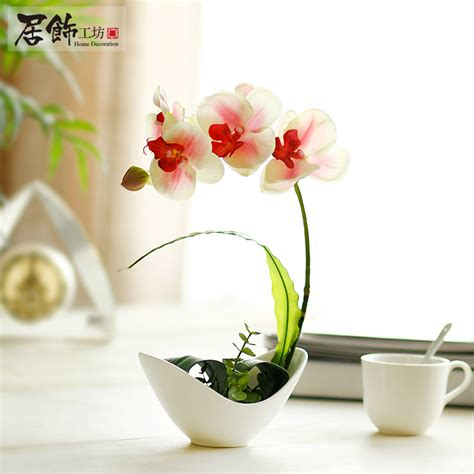 blossom artificial flower living room dining table quality ceramic base artificial flower phalaenopsis resin flower living room dining table