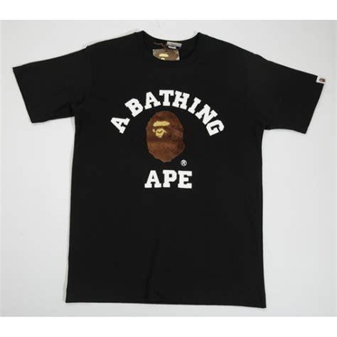 T Shirt Ape a bathing ape fleece logo t shirt black