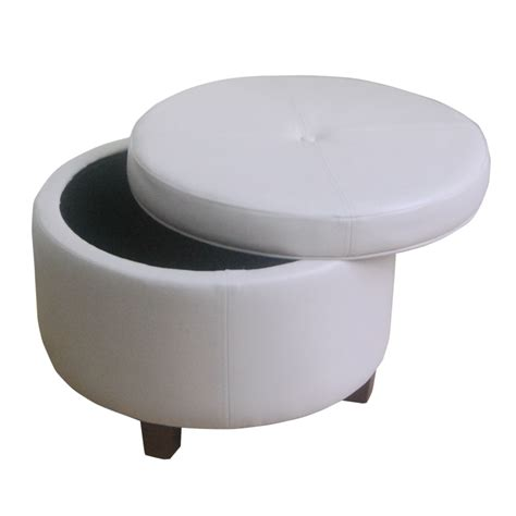 round large ottoman homepop large round storage ottoman in leather ebay