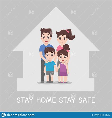 amily stay home stay safe   home stock vector