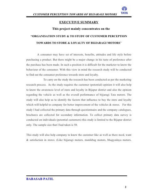 Mba Project Report On Marketing Research by Customer Perception Bijjaragi Motors Project Report Mba