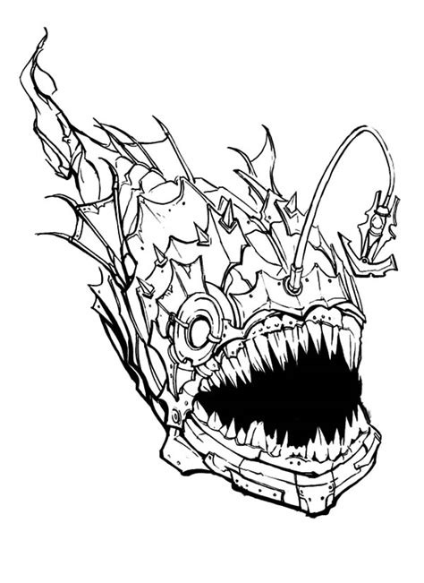 Scary Fish Coloring Pages | creepy free colouring pages