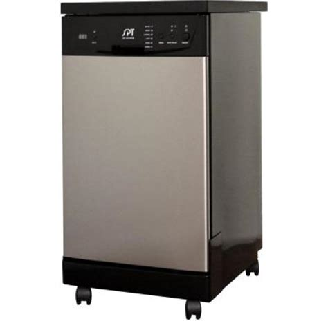 spt 18 in front portable dishwasher in stainless