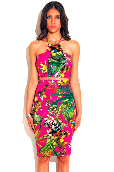Tropical Dress pink tropical floral palm print high neck fitted