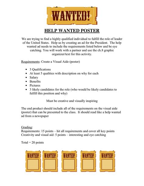 Help Wanted Poster In Word And Pdf Formats Help Wanted Newspaper Ad Template
