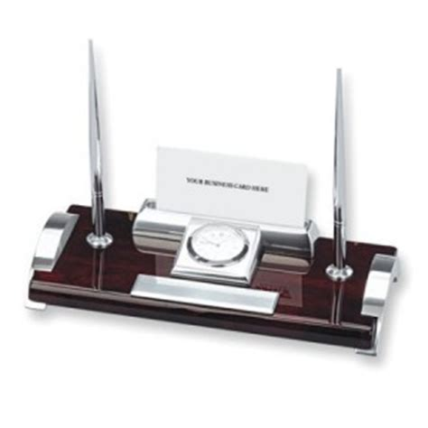 office desk pen holder clock card holder and two pen desk set office accessory