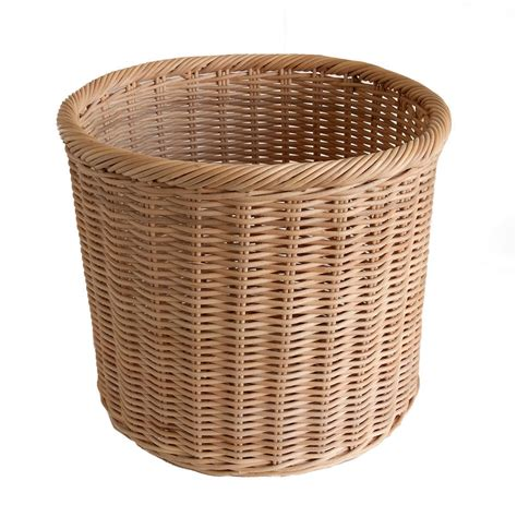 waste paper basket round rattancore wicker waste paper basket bin or storage