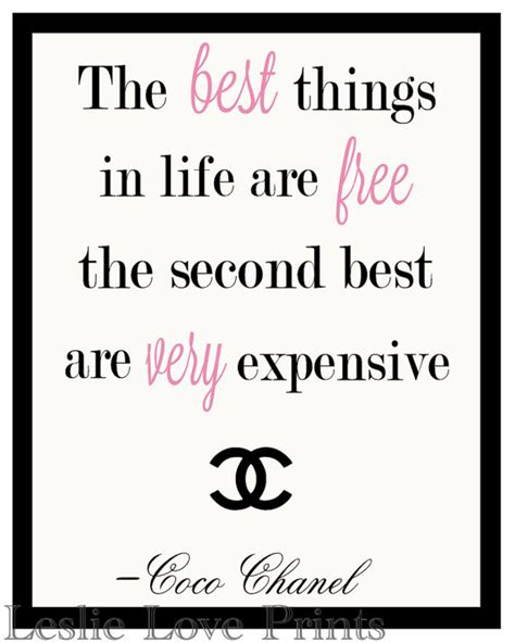 items similar to coco chanel quote printable quote items similar to the best things in life are free