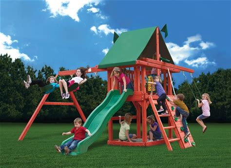 red swing set gorilla playsets red rambler swing set installer the