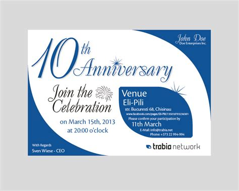 company anniversary invitation card template business anniversary invitation wording arts arts