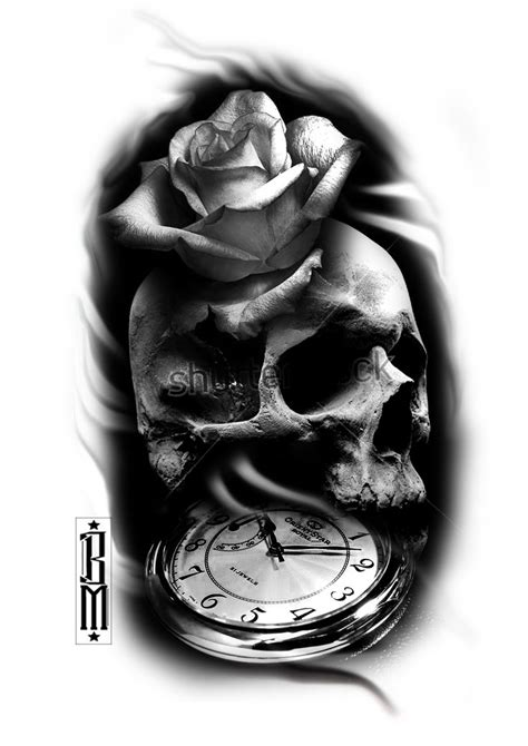 skull collage tattoo designs skull clock black and grey sleeve ideas