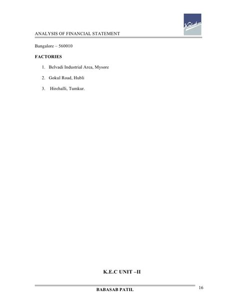 Mba Project Report On Analysis Of Financial Statement by Analysis Of Financial Statement Kirloskar Project Report