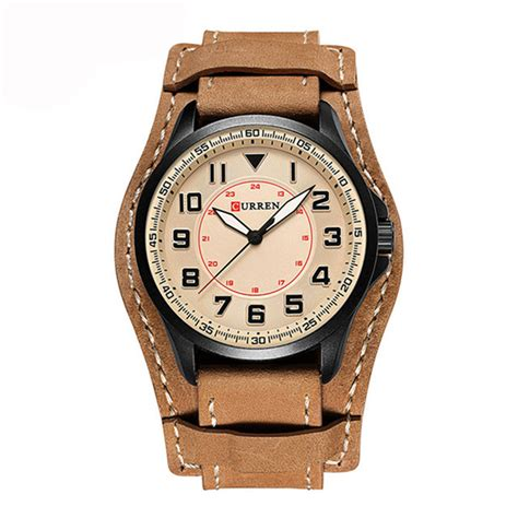 Swiss Army Doubleclock Lightbrown mocha army quartz mens watches luxury leather