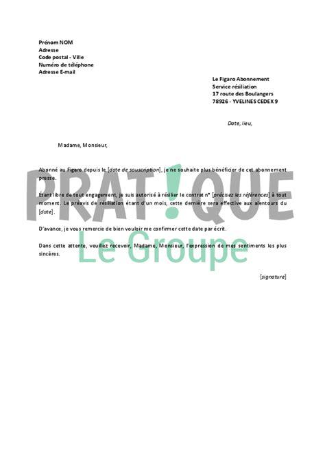 Lettre De Rã Siliation Mobile Fin D Engagement Lettre De R 233 Siliation Le Figaro Pratique Fr