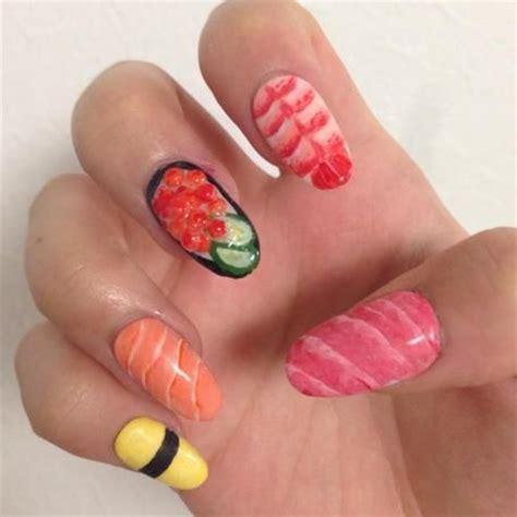 sushi nail art food nail art