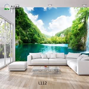 nice Flower Decoration For Living Room #7: Beautiful-Landscape-3D-Wallpaper-Customized-Living-Room.jpg