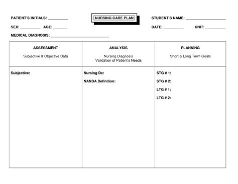 nursing care plan template free free nursing care plan templates professional sle