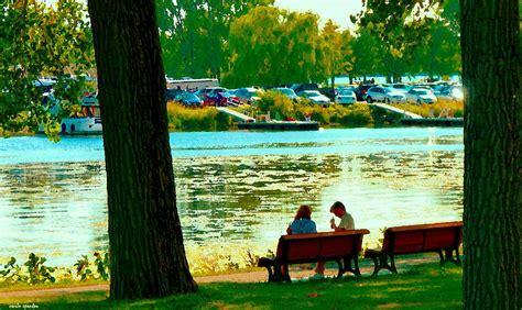 park bench painting park bench conversation shoreline lachine canal quebec art