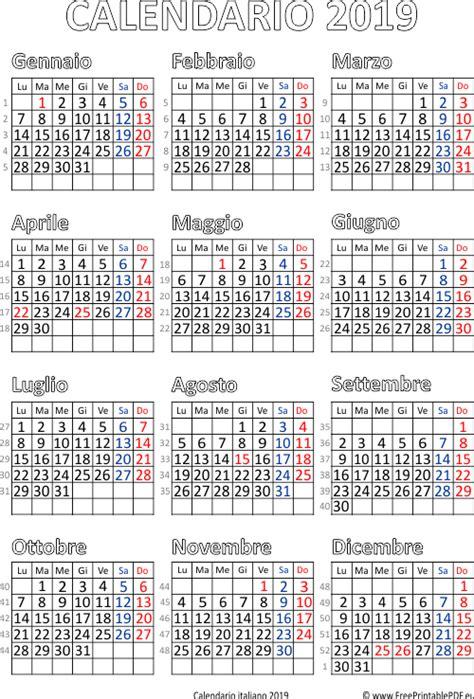 Calendario 2019 Italiano Calendario 2019 Italia Stabile Pdf Pdf Liberi Di Sta