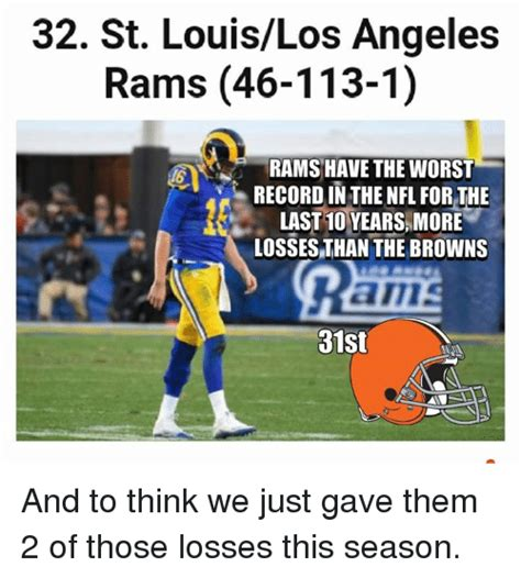 St Louis Rams Memes - 32 st louislos angeles rams 46 113 1 rams have the worst