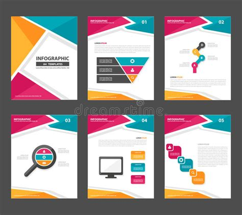 marketing leaflet template pink yellow green infographic elements presentation
