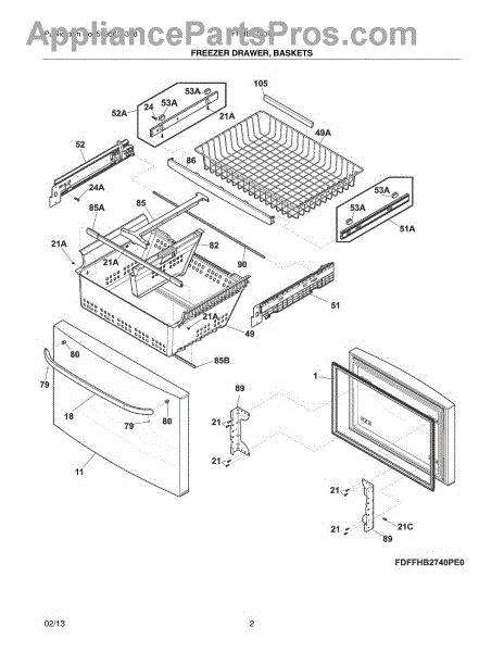 parts for frigidaire ffhb2740pp0 freezer drawer baskets