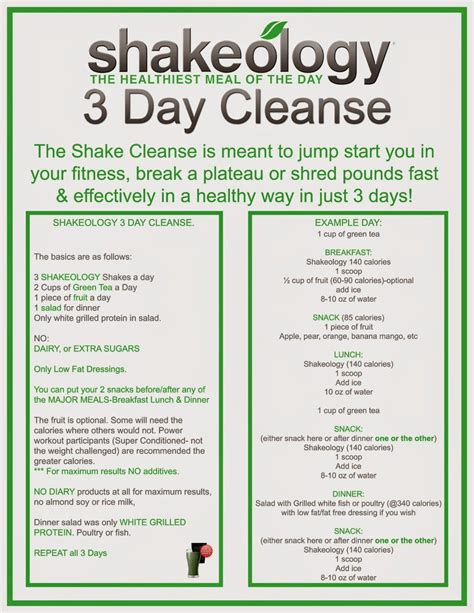 5 Day Clean Detox Plan by 21 Day Fix Meal Plan 3 Day Shakeology Cleanse Fitness