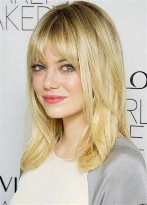 medium straight hair from behind bangs mid length blonde and hair on pinterest