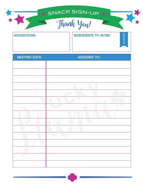 snack sign up sheet template haisume