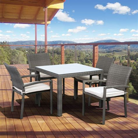 Patio Dining Set Square Hanover Hermosa 5 All Weather Wicker Square Patio