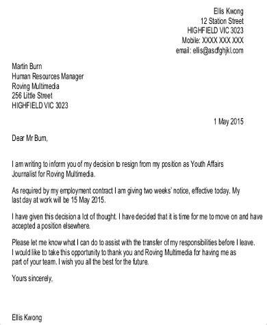 Resignation Letter 2 Week Notice Pdf two week notice email two weeks notice 26 40 two weeks