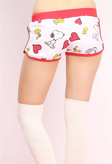 Pink Snoopy Shortpants Pajamas snoopy graphic shorts shop bottoms at papaya clothing