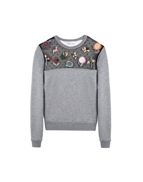 Valentino Sweatshirt valentino fragile flower embroidered sweatshirt