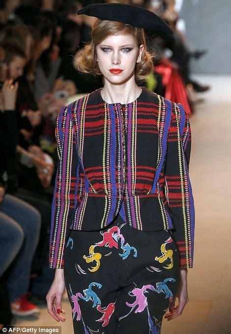 Aladin Monkey Sweater fashion gets fruity in models sashay runway