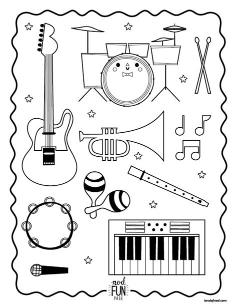 Musical Instruments Coloring Pages Printable | nod printable coloring page instruments for musical kiddos