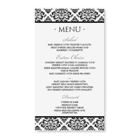 damask wedding menu template editable text black 4 x 7