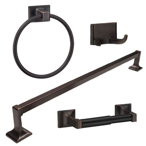 Rubbed Bronze Bathroom Accessories Rubbed Bronze 4 Bathroom Hardware Bath Accessory Set Ebay